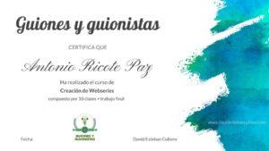 Certificado Guiones y guionistas