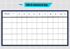 Descargar tabla de evaluacion de ideas
